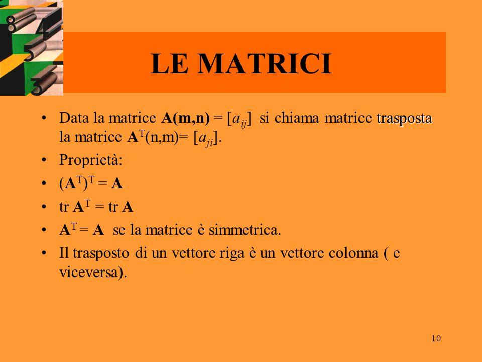 LE MATRICI Data la matrice A(m,n) = [aij] si chiama matrice trasposta la matrice AT(n,m)= [aji]. Proprietà: